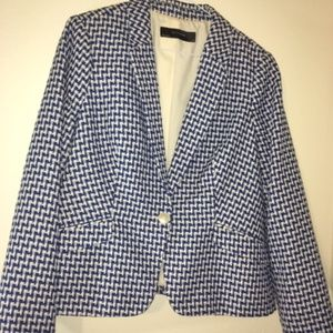 Royal Blue and White Patterned Blazer